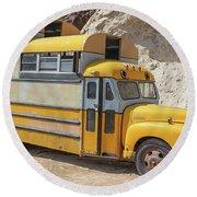Custom School Bus Camper Eldorado Canyon Nevada Round Beach Towel