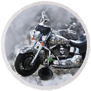 Customized Harley Davidson Round Beach Towel
