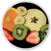 Round Beach Towel featuring the photograph Cut Fruit by Shane Bechler