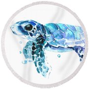 Cute Baby Turtle Round Beach Towel by Suren Nersisyan