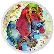 Round Beach Towel featuring the painting Cute Basset Hound by Kovacs Anna Brigitta