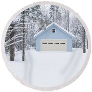 Cute Blue And Ivory Garage In The Snow Round Beach Towel