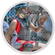 Cute Catcher In Red And White. Round Beach Towel