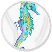 Cute Colorful Seahorse Round Beach Towel