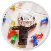 Cute Doll Made From Yarn Surrounded By Pins Round Beach Towel