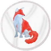 Cute Fox With Fluffy Tail Round Beach Towel
