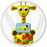 Cute Giraffe With Goldfish Round Beach Towel