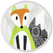 Cute Green And Black Fox- Art By Linda Woods Round Beach Towel