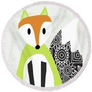 Cute Green And Black Fox- Art By Linda Woods Round Beach Towel