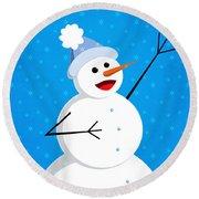 Cute Happy Snowman Round Beach Towel