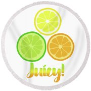 Cute Juicy Orange Lime Lemon Citrus Fun Art Round Beach Towel by Tina Lavoie