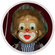 Round Beach Towel featuring the photograph Cute Little Clown By Kaye Menner by Kaye Menner