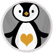 Cute Penguin With Heart Round Beach Towel