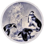 Cute Penguins Round Beach Towel by Pennie  McCracken
