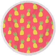 Cute Pineapples Round Beach Towel by Allyson Johnson
