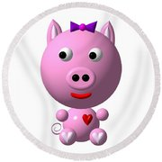 Cute Pink Pig With Purple Bow Round Beach Towel