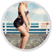 Cute Pinup Girl Looking Surprised On Beach Pier Round Beach Towel