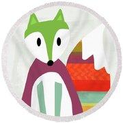 Cute Purple And Green Fox- Art By Linda Woods Round Beach Towel