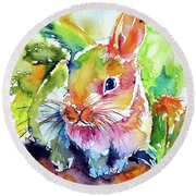 Round Beach Towel featuring the painting Cute Rabbit by Kovacs Anna Brigitta