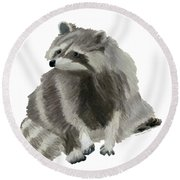 Cute Raccoon Round Beach Towel