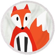 Cute Red And White Fox- Art By Linda Woods Round Beach Towel