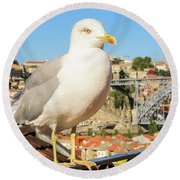 Cute Seagull And Porto's Cityscape Round Beach Towel