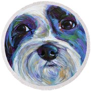 Round Beach Towel featuring the painting Cute Shih Tzu Face by Robert Phelps