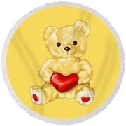 Cute Teddy Bear Hypnotist Round Beach Towel