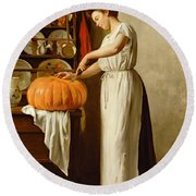 Cutting The Pumpkin Round Beach Towel