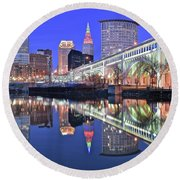Round Beach Towel featuring the photograph Cuyahoga River Blue Hour by Frozen in Time Fine Art Photography