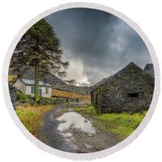 Round Beach Towel featuring the photograph Cwmorthin Slate Ruins by Adrian Evans