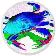 Cyan Crab Round Beach Towel