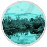 Round Beach Towel featuring the photograph Cyan Dreaming - Sarasota Pond by Madeline Ellis