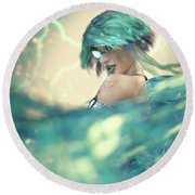 Cyan Round Beach Towel