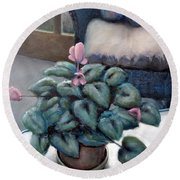 Cyclamen And Wicker Round Beach Towel by Michelle Calkins