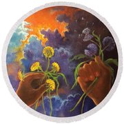 Cycle Of Life  Hands Ot Heaven Series Round Beach Towel by Randy Burns