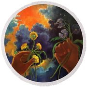Cycle Of Life  Hands Ot Heaven Series Round Beach Towel