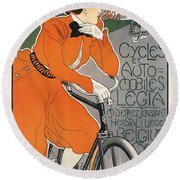 Cycles Et Automobiles Legia Poster 1898 Round Beach Towel