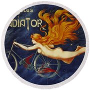 Cycles Gladiator  Vintage Cycling Poster Round Beach Towel