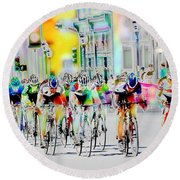 Cycling Down Main Street Usa Round Beach Towel by Vicki Pelham