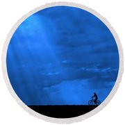 Cycling Into Sunrays No. 2 Round Beach Towel