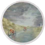 Cycling On Ocracoke Island Round Beach Towel