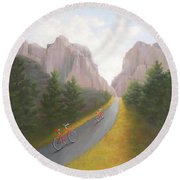 Cycling To The Pearly Gates Round Beach Towel