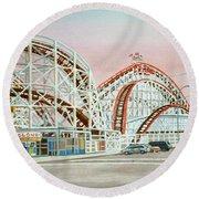 Cyclone Rollercoaster Coney Island, Ny Towel Version Round Beach Towel