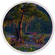 Cypress In The Sunset Round Beach Towel