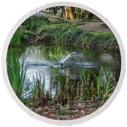 Round Beach Towel featuring the photograph Cypress Knees 02 by Gregory Daley  PPSA