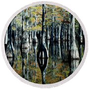 Cypress Reflections Round Beach Towel