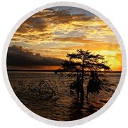 Cypress Sunset Round Beach Towel