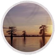 Cypress Sunset Round Beach Towel by Sheila Ping