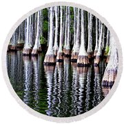 Round Beach Towel featuring the photograph Cypress Tree Reflection by Tara Potts
